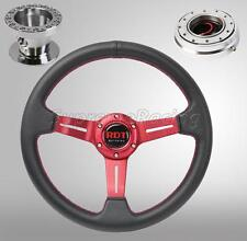 Red Steering Wheel Kit w/Quick Release Chrome For Hyundai Accent Genesis Tiburon