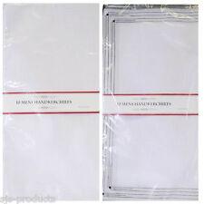 Pack of 20 Mens Hankies Handkerchiefs White Plain Cotton Polyester New Handky UK