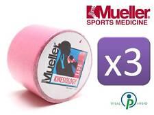 Mueller kinesiologia Sports K nastro 5 cm X 5m Rosa TRIPLE PACK fascia muscolare dolori