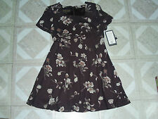 DONNA RICCO  BROWN PETITE SHORT SLEEVE  FLORAL KNEE-LENGTH POLYESTER  DRESS  12P