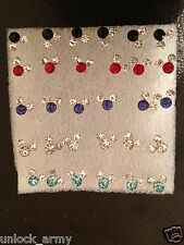 The Mouse Swarovski Crystal Bling Handmade Stud Earrings Mix Colors 15 Pairs A2