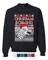 Christmas Is Coming Direwolf Sweatshirt GoT Parody Ugly Sweatshirt Sweater