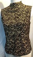 St John Women's Mock Neck Black Brown Gold Sleeveless Knit Top Size S G12005