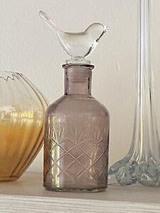 amethyst glass cut glass Bottle With Clear Bird Stopper