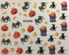 Halloween Nail Art Stickers Transfers Witch Pumpkins Spiders Gel Polish E065