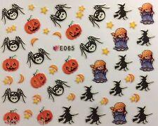 Halloween NAIL ART ADESIVI AD ACQUA trasferimenti Strega Zucche Ragni SMALTO GEL e065