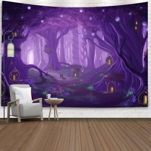 Purple Forest Tapestry Psychedelic Tapestries Art Throw Wall Hanging Home Decor