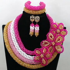 Elegant Pink White Gold African Beads Necklace Earring Bracelet Jewelry Set