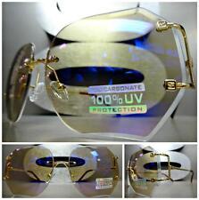 8157dab509b8 OVERSIZE CLASSIC VINTAGE RETRO Style SUN GLASSES Gold Rimless Frame Purple  Lens