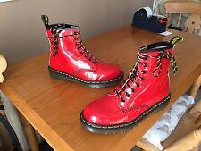 Vintage Dr Martens 1460 red patent boots UK 7 EU 41 England skin punk kawaii