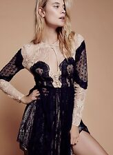 NWT Free People Special Edition black nude Mixed Lace Fit & Flare Dress 8