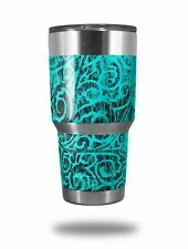 Skin for Yeti Rambler 30oz Folder Doodles Neon Teal TUMBLER NOT INCLUDED