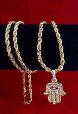 "Mens 14k Gold GP CZ Iced Mini Hamsa Evil Eye Pendant w/ 30"" Chain Rope Necklace"