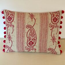 """NEW Kate Forman Angelique Pink Fabric 17""""x13"""" Pom Pom or Piped Cushion Cover"""