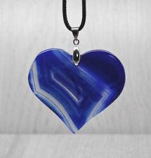 Large Blue Brazilian Agate Heart Pendant Necklace Reiki Healing Ladies Gift
