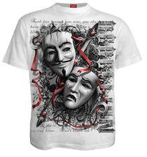 Spiral Direct Mens Gothic Skeleton Biker Tee Reaper Top Game Over Black Tshirt Large