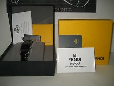 $586 NEW FENDI Loop Stainless Steel Black Dial Croc Leather Band Ladies Watch