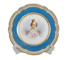 Sevres France Porcelain Hand Painted Portrait Plate Rein Hortense, c.1900 Signed