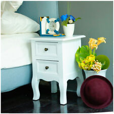 2pcs White Bedside Tables Nightstand with 2 Drawers Cabinet Bedroom Storage UK