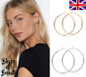 LARGE Gold Silver HOOPS Plain EARRINGS 80MM Round Small Big FASHION JEWELLERY UK