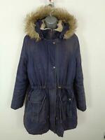 WOMENS M&S NAVY BLUE ZIP/BUTTON UP FAUX FUR HOOD CASUAL PARKA COAT JACKET UK 14