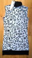 BITCHING & JUNKFOOD ladies white black motif pattern high neck bodycon dress 10