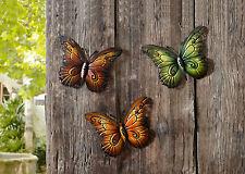 Schmetterling, Metall, 3er Set, gross - DEKO WAND GARTEN - NEU UNBENUTZT !!!