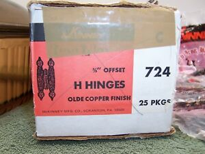 "16 Vintage Hammered Copper Cabinet Door 3/8"" Offset Hinges with Screws McKinney"