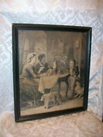 """ANTIQUE GESSO WOOD FRAME ART PRINT """"AT HOME"""" BY H KRETCHMER CIRCA 1894"""