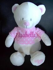Personalised Teddy Bear Baby Gift Any Name Embroidered 28cm sitting Blue/Pink