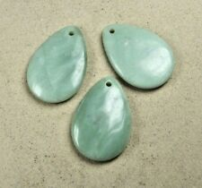 Jade ( Serpentin ) Tropfenanhänger mit 4 mm Bohrung ca. 65x45 mm