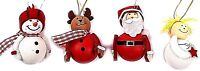 Set of 4 Character Christmas Hanging Ornament Tree Decorations Santa Snowman