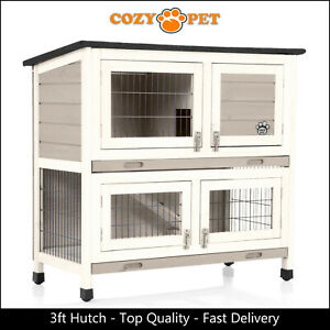 Rabbit Hutch 3ft by Cozy Pet Grey Guinea Pig Hutches Run Rabbit Ferret Runs RH06