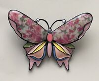 Unique large butterfly  brooch pin in enamel on metal