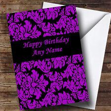 Floreale Viola Nero Damascato personalizzato compleanno auguri carta