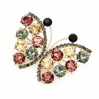 Betsey Johnson Lovely Crystal Rhinestone Butterfly Insect Charm Brooch Pin Gift