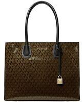Michael Kors Mercer Glossy Signature Large Tote, Brown $358