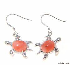 925 Silver Rhodium Hawaiian Honu Turtle Genuine Natural Pink Coral Hook Earrings