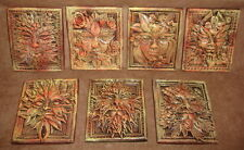 Lot of 7 Green Man Leaf Mythical Season Faces Gothic Art Forest Mask