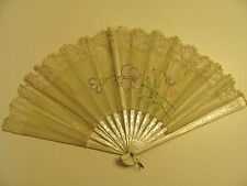 Antique 1900's Vintage Hand Fan Victorian style hand painted flowers Cool item
