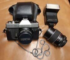 Spiegelreflex-Kamera Cosina Hi-Lite HDL mit Teleobjektiv und Cullmann C28 Blitz