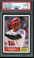 2018 Topps Throwback Thursday #184 Juan Soto RC SP PSA 10 Gem Mint Rookie Card