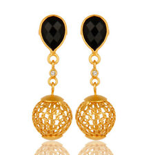 Natural Black Onyx White Topaz 18K Gold Plated 925 Sterling Silver Earrings