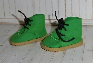 35cm Zwergnase doll green leather stock boots with laces.