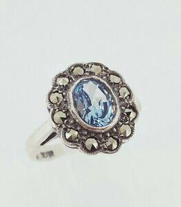 Vintage Sterling Silver Blue Topaz & Marcasite Cluster Engagement Ring UK N/O