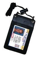 Black Genuine Leather ID Card Holder Neck Strap Travel Wallet String Bag