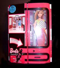 Barbie Kleiderschrank, tragbarer Schrank mit Inhalt DMT57 Fashionistas NEU/OVP