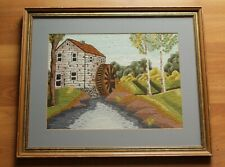 Vintage Framed Old Country Mill Silk Stitchwork