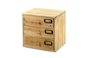 Wooden Cabinet 3 Drawers Small Desktop Organiser Storage Home Office Shabby Chic