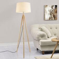 [lux.pro] Stehleuchte 153cm Stehlampe Standleuchte Stand Lampe Metall Holz Weiß